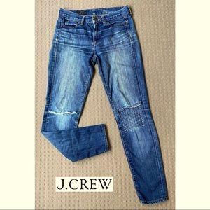 J Crew Midrise Toothpick skinny ripped jeans 26R